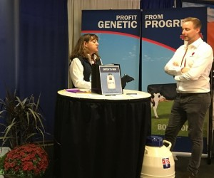 Combined ABS & Geno Global AL 153-155 booth, Monica Richardson of ABS & Cedric Øglænd of Geno Global at booth AL 153-155